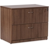 """Lorell Essentials Series Walnut Laminate Lateral File - Top, Edge, 35.5"""" x 22"""" x 29.5"""" Lateral File - 2 x File Drawer(s) - Material: Steel Ball Bearing, Polyvinyl Chloride (PVC) Edge - Finish: Walnut"""