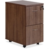 "Lorell Essentials Walnut F/F Mobile Pedestal - 15.8"" x 22"" x 28.4"" Pedestal, Caster - 2 x File Drawer(s) - Material: Polyvinyl Chloride (PVC) Edge, Metal Handle - Finish: Laminate, Walnut, Silver Brus"
