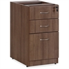 "Lorell Essentials Walnut B/B/F Fixed Pedestal - 15.5"" x 21.9"" x 28.5"" Pedestal - 3 x File Drawer(s), Box Drawer(s) - Material: Polyvinyl Chloride (PVC) Edge, Metal Handle - Finish: Laminate, Walnut, S"
