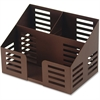 Lorell Stamped Metal 3-Comt Desktop Organizer - 3 Compartment(s) - Desktop - Bronze - Steel - 1Each
