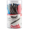 Pentel WOW! Retractable Ballpoint Pens - Medium Point Type - Point Point Style - Assorted - Translucent Barrel - 24 / Pack