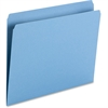 "Smead Top Tab Colored Folders - Letter - 8 1/2"" x 11"" Sheet Size - 3/4"" Expansion - 11 pt. Folder Thickness - Blue - Recycled - 100 / Box"