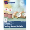 "Avery Textured White Scallop Round Labels 80500, 2-1/2"" Diameter, Pack of 27 - Permanent Adhesive - 27 Label(s)"" Length - 2.50"" Diameter - 9 / Sheet - Round Scallop - Inkjet, Laser - White - 27 / Pack"