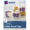 "Avery Textured White Scallop Round Tags 80503, 2-1/2"" Diameter, Pack of 27 - 2.50"" Diameter - Round Scallop - 27 / Pack - Card Stock - White"