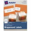 "Avery Textured White Wraparound Labels 80506, 7-17/20"" x 1-3/4"", Pack of 15 - Permanent Adhesive - 15 Label(s)"" - 7.85"" Width x 1.75"" Length - 5 / Sheet - Rectangle - Inkjet, Laser - White - 15 / Pack"