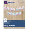 "Avery Matte White Party Banner 80507, 3-4/5"" x 4-5/16"", Pack of 20 Cards - 3.80"" Width x 4.31"" Height - White"