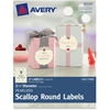 """Avery Pearlized Scallop Round Labels 80508, 2-1/2"""" Diameter, Pack of 27 - Permanent Adhesive - 27 Label(s)"""" Length - 2.50"""" Diameter - 9 / Sheet - Round Scallop - Inkjet, Laser - Ivory - 27 / Pack"""