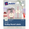 "Avery Pearlized Scallop Round Labels 08214, 2-1/2"" Diameter, Pack of 72 - Permanent Adhesive - 72 Label(s)"" Length - 2.50"" Diameter - 9 / Sheet - Round Scallop - Inkjet, Laser - Ivory - 72 / Pack"