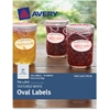 "Avery Textured White Oval Labels 08216, 1-1/8"" x 2-1/4"", Pack of 210 - Permanent Adhesive - 210 Label(s)"" - 1.13"" Width x 2.25"" Length - 21 / Sheet - Oval - Inkjet, Laser - White - 210 / Pack"