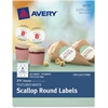 "Avery Textured White Scallop Round Labels 08218, 2-1/2"" Diameter, Pack of 90 - Permanent Adhesive - 90 Label(s)"" Length - 2.50"" Diameter - 9 / Sheet - Round Scallop - Inkjet, Laser - White - 90 / Pack"