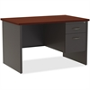 "Lorell Mahogany Laminate/Ccl Modular Desk Series - 48"" x 30"", Top - 2 x Box Drawer(s), File Drawer(s) - Single Pedestal on Right Side - Material: Steel - Finish: Mahogany Laminate, Charcoal"