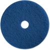 "Genuine Joe Medium-duty Scrubbing Floor Pad - 13"" Diameter - 5/Carton - Resin, Fiber - Blue"