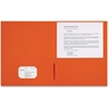 "Sparco 2-Pocket Leatherette Portfolio - Letter - 8 1/2"" x 11"" Sheet Size - 2 Internal Pocket(s) - Leatherette Paper - Orange - 25 / Box"