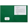 "Sparco 2-Pocket Leatherette Portfolio - Letter - 8 1/2"" x 11"" Sheet Size - 2 Internal Pocket(s) - Leatherette Paper - Green - 25 / Box"