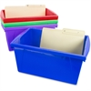 "Storex Storage Box - External Dimensions: 16.8"" Length x 11.9"" Width x 8.3"" Height - Stackable - Assorted Bright - For File, Office Supplies - Recycled - 4 / Set"