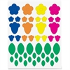Hygloss Floral Shapes Stickers - 72 Floral - Self-adhesive - Green, Blue, Orange, Yellow, Pink - 1 Pack