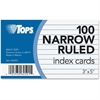 "TOPS Narrow Ruled 3x5 Index Cards - Front Ruling Surface - Ruled - 90 lb Basis Weight - 3"" x 5"" - White Paper - 100 / Pack"
