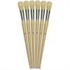 ChenilleKraft No. 12 Round Bristle Brush Set - 6 Brush(es) - No. 12 - Aluminum Ferrule - Wood Handle - Natural, Natural, White