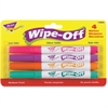 Trend Bright Colors Wipe-Off Markers - Medium Point Type - Purple, Pink, Orange, Aqua - 4 / Pack