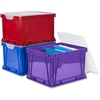 Storex 3 Piece Cube Storage Bins - Stackable - Plastic - Assorted Bright - For File - Recycled - 3 / Set