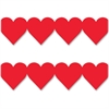 "Hygloss Red Heart Globe Design Border Strips - 12 Heart - Damage Resistant, Durable, Long Lasting - 36"" Height x 3"" Width - Red - 12 / Pack"