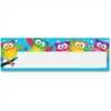 "Trend Owl-Stars! Desk Toppers Nameplates - Learning Theme/Subject - Colorful Owls, White Stars - 2.88"" Height x 9.50"" Width - Multicolor - 36 / Pack"