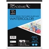 "Mead Academie Textured Watercolor Paper Pad - 15 Sheets - Tape Bound - 9"" x 12"" - White Paper - 1Each"