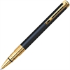 Gold Trim Perspective Pen - Medium Point Type - Blue - Black, Gold Barrel - 1 Each