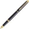 Waterman Black Hemisphere Fountain Pen - Fine Point Type - Chisel Point Style - Black, Gold Barrel - 1 Each