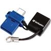 Verbatim 32GB Store 'n' Go Dual USB Flash Drive for USB-C Devices - Blue - 32 GB - USB Type C, USB 3.0 - Blue