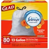 Glad OdorShield 13-gal Tall Kitchen Bags - 13 gal - White - 320/Carton - 80 Per Box - Kitchen, Home Office