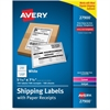 "Avery Paper Receipt White Shipping Labels - Permanent Adhesive - 100 Label(s)"" - 5.06"" Width x 7.62"" Length - 1 / Sheet - Rectangle - Laser, Inkjet - White - Paper - 100 / Box"