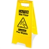 Genuine Joe Universal Graphic Wet Floor Sign - 6 / Carton - Wet Floor Print/Message - Foldable - Yellow