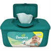 Pampers Natural Clean Wipes - Green - Unscented, Hypoallergenic, Strong, Durable, Soft - For Skin - 72 Sheets Per Canister - 8 / Carton
