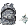 "ZIPIT Grillz Carrying Case (Backpack) for Books, Binder, Clothing, Tablet, Snacks, Bottle, School - Gray Camouflage - Polyester - Shoulder Strap - 16.5"" Height x 11.2"" Width x 14.5"" Depth"
