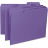 "Business Source 1/3-cut Colored Interior File Folders - Letter - 8 1/2"" x 11"" Sheet Size - 1/3 Tab Cut - Assorted Position Tab Location - 11 pt. Folder Thickness - Stock - Purple - Recycled - 100 / Bo"