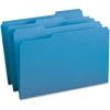 "Business Source 1/3-cut Tab Legal Colored File Folders - Legal - 8 1/2"" x 14"" Sheet Size - 1/3 Tab Cut - Assorted Position Tab Location - 11 pt. Folder Thickness - Stock - Blue - Recycled - 100 / Box"