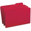 "Business Source 1/3-cut Tab Legal Colored File Folders - Legal - 8 1/2"" x 14"" Sheet Size - 1/3 Tab Cut - Assorted Position Tab Location - 11 pt. Folder Thickness - Stock - Red - Recycled - 100 / Box"
