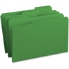 "Business Source 1/3-cut Tab Legal Colored File Folders - Legal - 8 1/2"" x 14"" Sheet Size - 1/3 Tab Cut - Assorted Position Tab Location - 11 pt. Folder Thickness - Stock - Green - Recycled - 100 / Box"