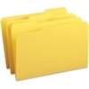 "Business Source 1/3-cut Tab Legal Colored File Folders - Legal - 8 1/2"" x 14"" Sheet Size - 1/3 Tab Cut - Assorted Position Tab Location - 11 pt. Folder Thickness - Stock - Yellow - Recycled - 100 / Bo"