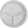 "Genuine Joe 3-Compartment Disposable Plates - 50 / Pack - 10"" Diameter Plate - Sugarcane - Disposable - White - 500 Piece(s) / Carton"
