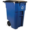 """Rubbermaid Commercial BRUTE Recycling Rollout Container - Swing Lid - 50 gal Capacity - Rectangular - Mobility, Heavy Duty, Wheels, Lid Locked - 36.5"""" Height x 23.4"""" Width - Resin - Blue"""