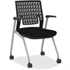 "Mayline Thesis - Flex Back, Arms - Black Seat - Poly Black Back - Gray Frame - Four-legged Base - 18.25"" Seat Width x 17.50"" Seat Depth - 22.3"" Width x 21.3"" Depth x 33"" Height"