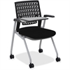 "Mayline Thesis - Flex Back, Tablet - Fabric Black Seat - Poly Back - Gray Frame - Four-legged Base - 18.25"" Seat Width x 17.50"" Seat Depth - 24"" Width x 25.3"" Depth x 33.3"" Height"