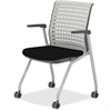 "Mayline Thesis - Static Back, Arms - Gray Seat - Poly Light Gray Back - Gray Frame - Four-legged Base - 18.25"" Seat Width x 17.50"" Seat Depth - 22.3"" Width x 22.5"" Depth x 33"" Height"