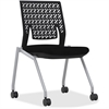 "Mayline Thesis - Flex Back, Armless - Fabric Black Seat - Poly Back - Gray Frame - Four-legged Base - 18.25"" Seat Width x 17.50"" Seat Depth - 21.3"" Width x 21.3"" Depth x 33"" Height"