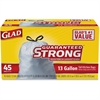"Glad Strong 13-gal Tall Kitchen Trash Bags - 13 gal - 24"" Width x 27"" Length x 1 mil (25 Micron) Thickness - White - Plastic - 270/Carton - 45 Per Box - Breakroom, School, Waste Disposal, Restaurant,"