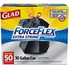 Glad ForceFlex 30gal Extra Strong Trash Bags - 30 gal - 1.05 mil (27 Micron) Thickness - Black - Plastic - 200/Carton - 50 Per Box
