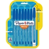 Paper Mate Inkjoy 100 Ballpoint Stick Pens - Medium Point Type - 1 mm Point Size - Blue - Translucent Barrel - 8 / Box