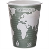 Eco-Products Renewable Resource Hot Drink Cups - 50 - 12 fl oz - 500 / Carton - Blue Marble - Polylactic Acid (PLA), Resin, Paper, Biopolymer, Plastic - Hot Drink, Coffee, Tea